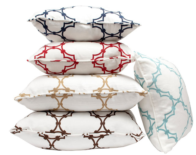 Five COCOCOZY Quatrefoil pillows
