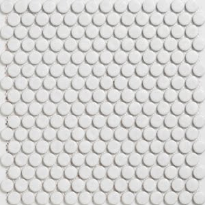 White porcelain glazed penny round tile mosaic from ModWalls