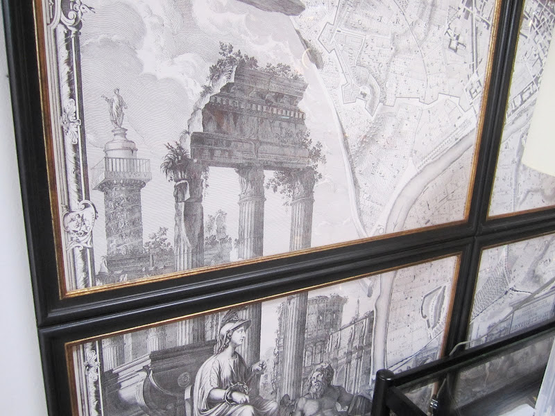 Close up of an old map cut up and framed in sections