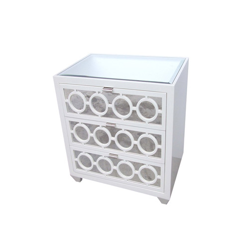 Nightstand or side table from Clayton Gray Home with three drawers, lacquered wood and a mirrored top and face