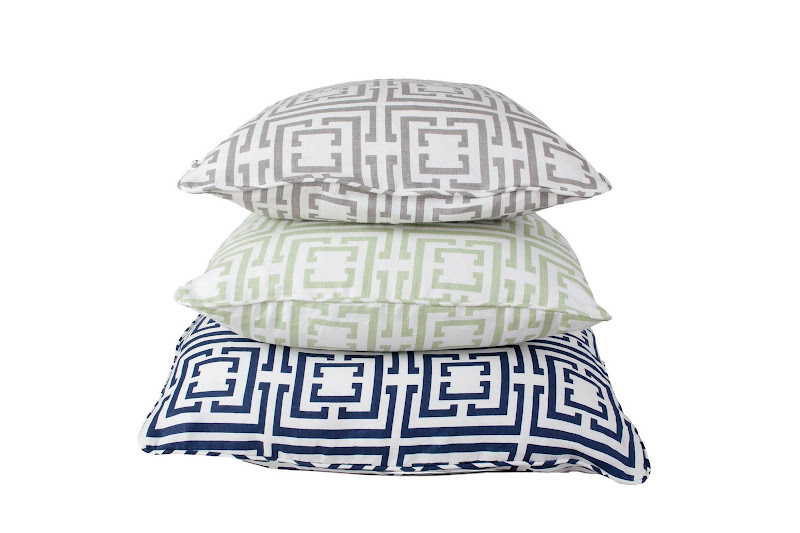 COCOCOZY Logo linen pillows in navy, grey and sage green.