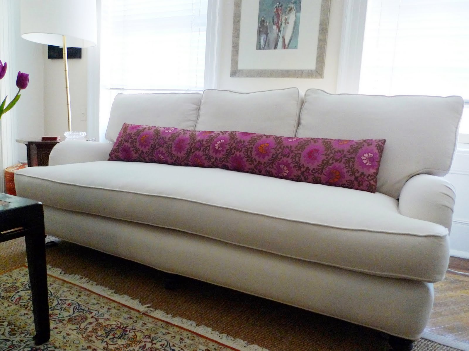 Before after micro makeover anatomy of a nyc sofa redo nbaynadamas furniture and interior Bench sofa