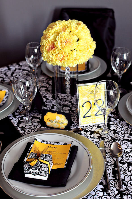 Yellow Damask Wedding Decor Love it