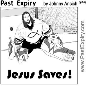 [CARTOON] Jesus saves!  , images, pictures, image, picture, cartoon, hockey, games, pun, religion, sports, spoof, US, Canada, winter, olympics