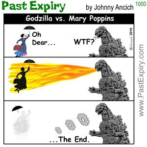 [CARTOON] Godzilla vs. Mary Poppins.  images, pictures, cartoon, Disney, godzilla, movie, spoof