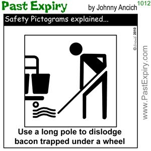 [CARTOON] Bacon Safety.  images, pictures, cartoon, food, pictogram, safety