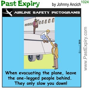 [CARTOON] One-Legged Man.  images, pictures, airlines, cartoon, safety