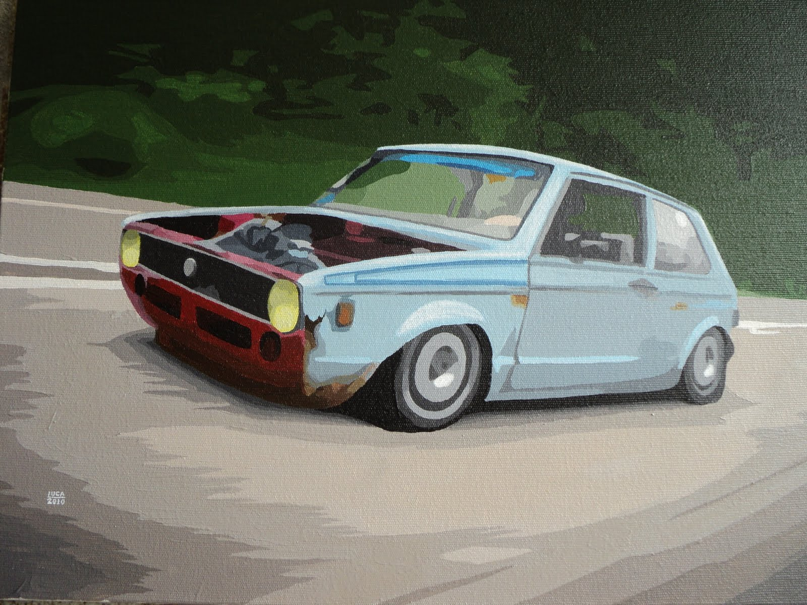 Car Art: Volkswagen Golf MK1 - Acrylic on canvas 30x40 cm