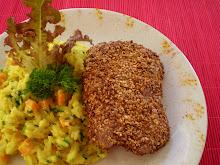 Risoto de abobrinha com frango na crosta de castanha