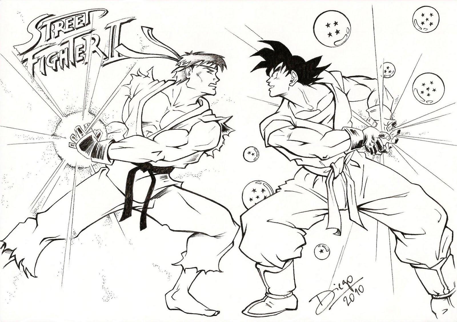 Diego moreira desenhos ilustra es versus ryu x goku for Ryu coloring pages
