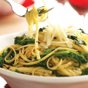 uses orecchiette pasta with broccoli rabe , garlic, anchovy and hot ...