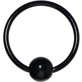 16 Gauge Black Acrylic Ball Captive Ring