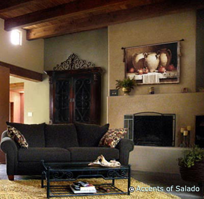 Rustic spanish style tapestries home design for Spanish mediterranean home decor
