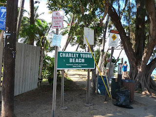 Charlie Young Beach sign