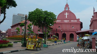 Melaka Christ Church facing Stadthuys Square also known as Red Square