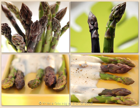 Purple and Green Asparagus with Bchamel