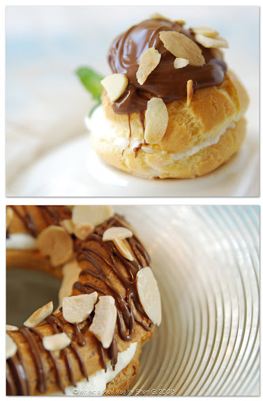 Peppermint Cream Puff and Ring with Chocolate Sauce