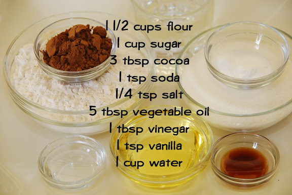 Ingredients for Wacky Cake