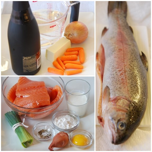 Saumon au Champagne (Salmon in Champagne Sauce) mise en place