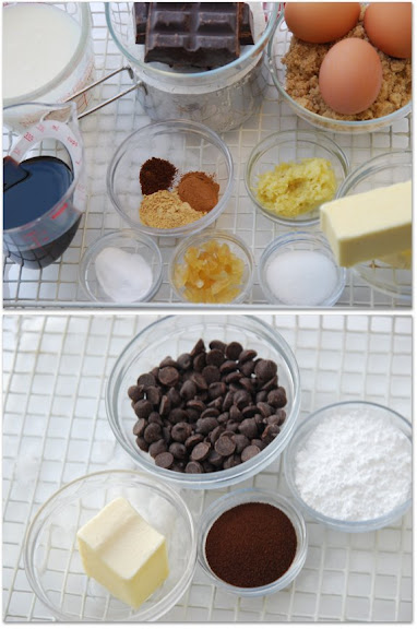 Ingredients for Fresh Ginger and Chocolate Gingerbread