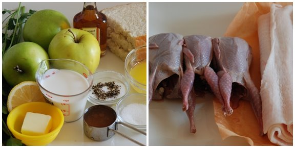Cailles à la Normande (Quail with Cream and Apples) mise en place