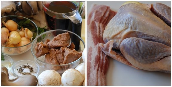 Pintade à la Cévenole (Guinea Hen with Mushrooms and Chestnuts) mise en place