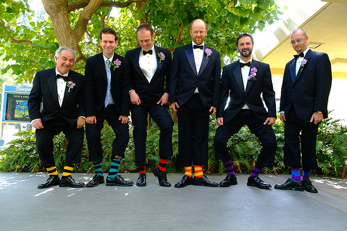Funky groomsmen socks – matching or different??