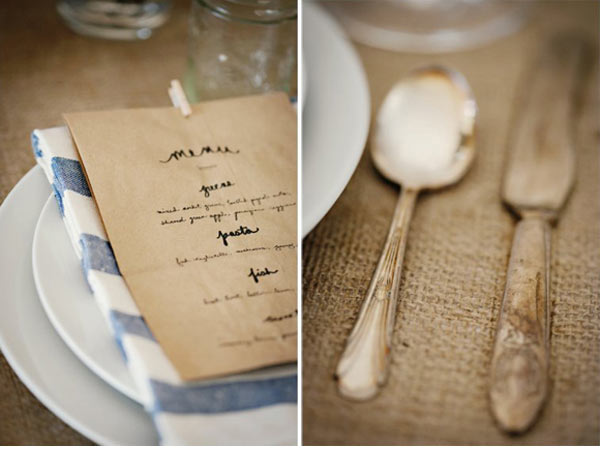 a table decorated with fantastic burlap linens accented with pieces of