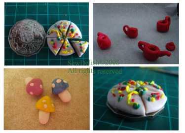Fairy tea set pizza Sculpey Fimo craft project kids