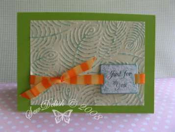 Cuttlebug Fiskars emboss card fern