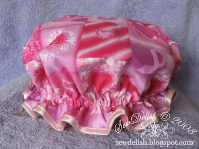 Shower Cap sew make showercap Breast Cancer Awareness Fabric