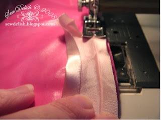 sew how make Shower Cap pattern showercap tutorial satin bias binding