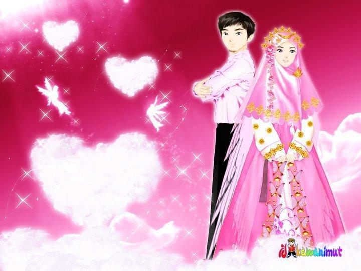 Gamabar kartun wedding