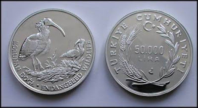 1995 Korunan Doğa Serisi No.:1 Kelaynak Gümüş Hatıra Parası