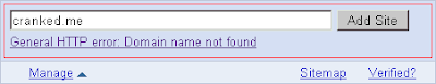 General HTTP error - Domain name not found in Google Webmaster Tools