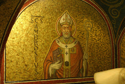 St. Ambrose, Bishop of Milan, wearing a mitre