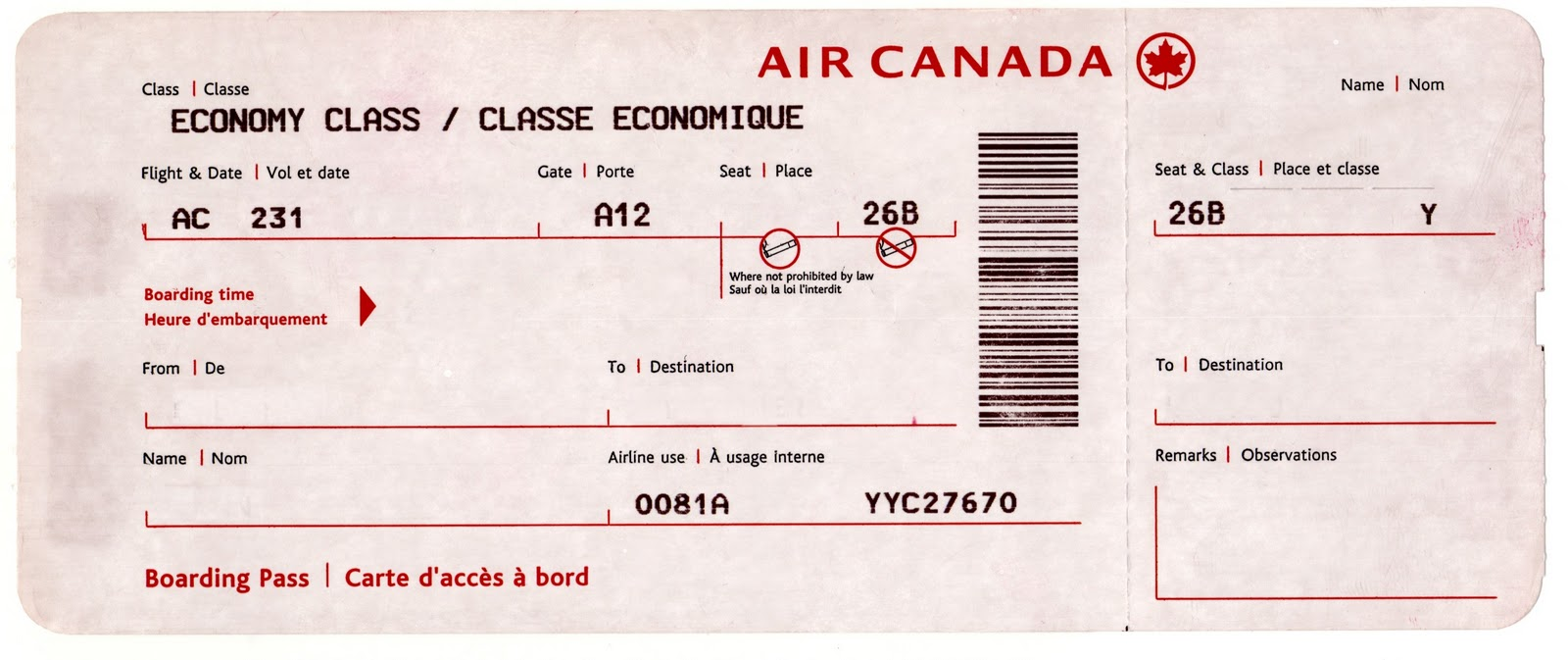 Fake airline ticket template European Avalanche School