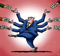 caricatura de banquero con seis manos agarrando dinero
