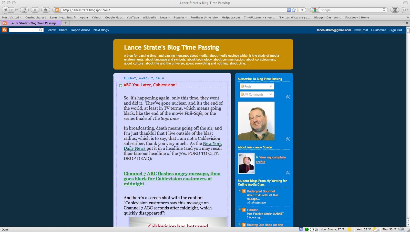 Lance Strates Blog Time Passing Blogwurst
