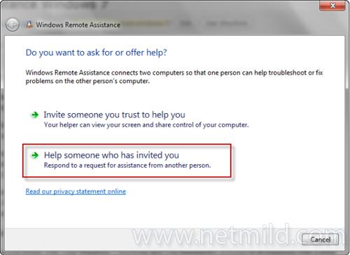 help Cara Menggunakan Windows 7 Remote Assistance