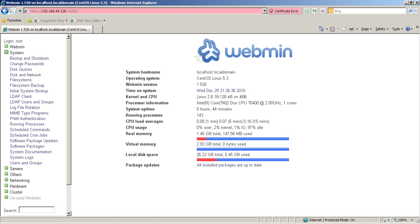 Linux For You Mate How To Install Webmin On Rhel Or Centos 5