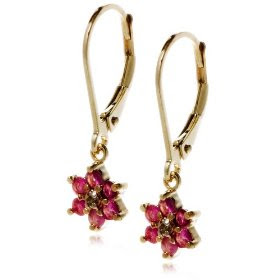 18k Yellow Gold Overlay Sterling Silver Ruby Flower Dangle Earrings