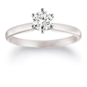 Platinum Round Solitaire Diamond Engagement Ring