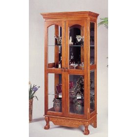 Queen Anne Style Double Door China Cabinet Dining Room