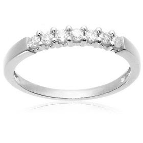 10k White Gold Round 7-Stone Ring