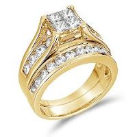 Gold Diamond Bridal Engagement Wedding Band