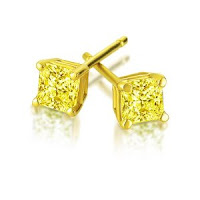 Princess Cut Treated Yellow Diamond Stud Earrings