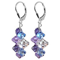 SCER009 Lavender Blue And Clear Swarovski Crystal Earring