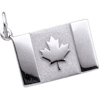 White Gold Canadian Flag Charm