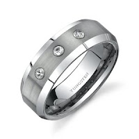 Three Stone 8 mm Comfort Fit Mens Ring